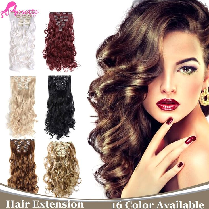 16Colors 7Pcs/set Clip In Hair Extensions Natural Curly Wavy Hair Extension Long Hairpiece Heat Resistant Synthetic Hair Piece