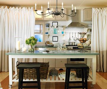 Add Character To A Small Kitchen Ceiling Curtains Kitchen Fabric And Small Kitchens
