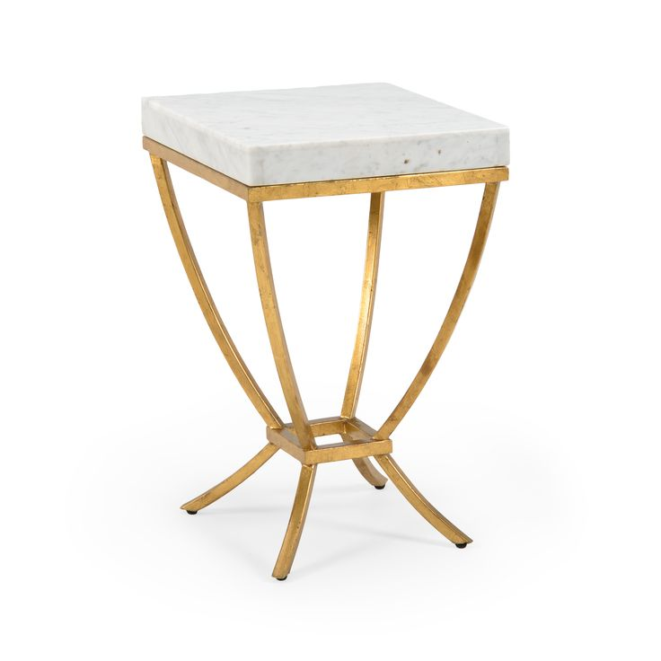 """This lovely side table is made with wrought iron and features an antique gold finish. The table has a white marble top. It measures 14""""W X 14""""D X 22""""H. Click on image for greater detail."""