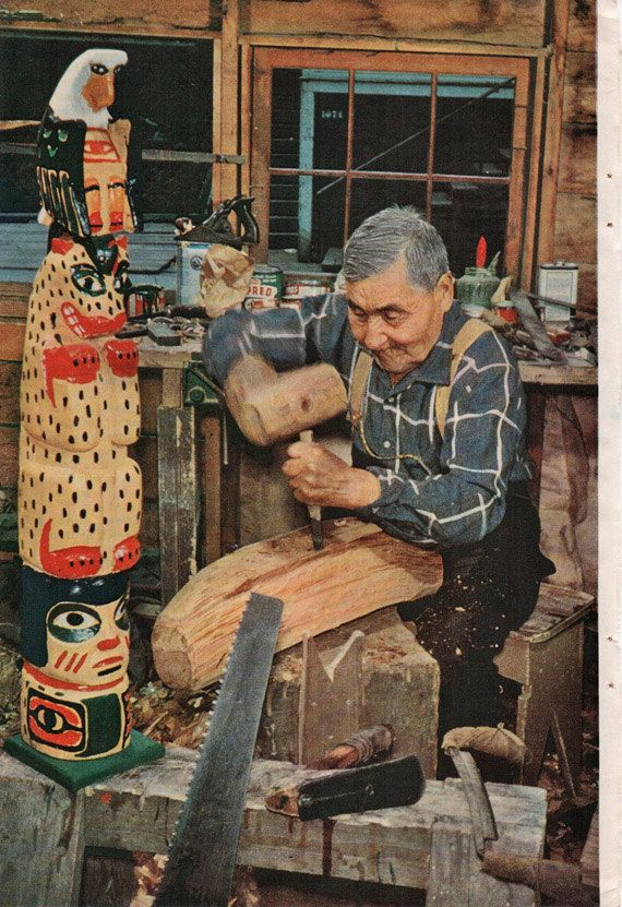 Alaska Totem Carver - Casper Mather,Tsimshian Indian,last of original Alaska's carvers,ORIGINAL vintage photo page July 1959 on Etsy, $7.90 CAD