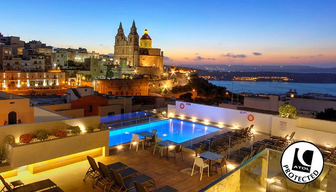 UK Holidays: Mellieha, Malta: 2-4 Night 4* Spa Hotel Stay With Flights - Up to 60% Off for just: £79.00 Float away to Malta and stay in 4* style with a 2-4 night spa break      Lap up the Mediterranean lifestyle with opulent spa facilities and relaxing pools      Stay at 4* Pergola Hotel and Spa      Relax by indoor spas, Jacuzzis and saunas      Hotel is a former winner of the TripAdvisor...