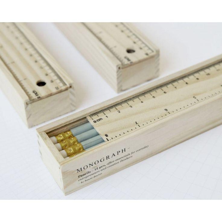 Pencils w Eraser in a Box - Grey