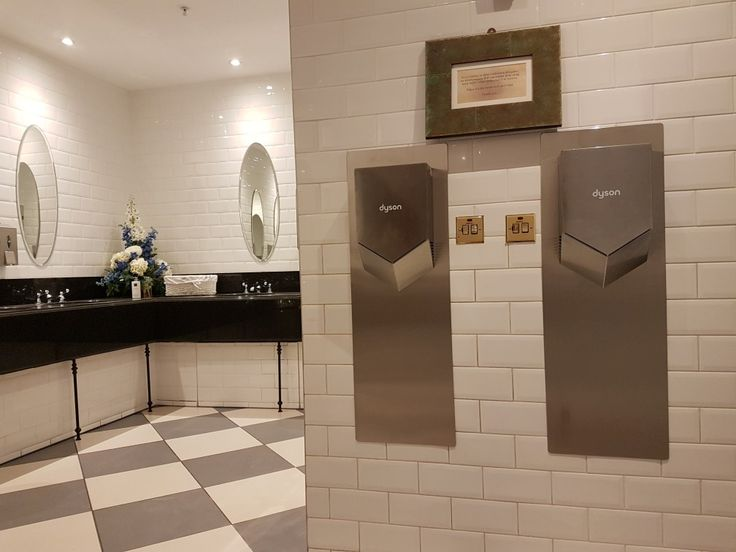 Dyson Airblade V 'Quiet' HU02 Nickel along with brushed stainless steel splashbacks installed at Titanic Experience, Belfast