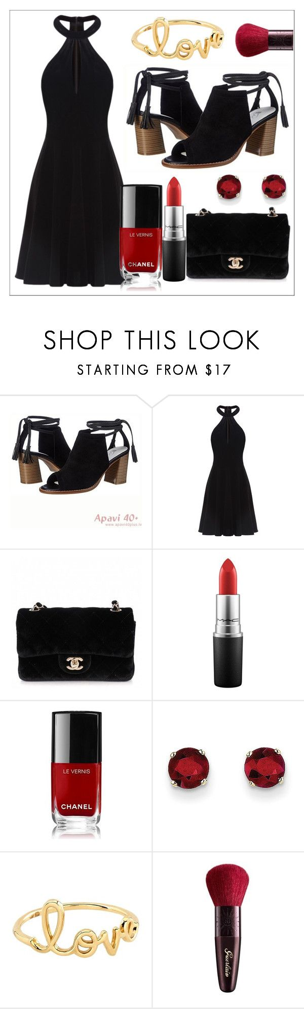 """""""Always a Bridesmaid"""" by large-size-shoes ❤ liked on Polyvore featuring Piazza, Ever-Pretty, Chanel, MAC Cosmetics, Kevin Jewelers, Sydney Evan, Guerlain, black and sandals"""