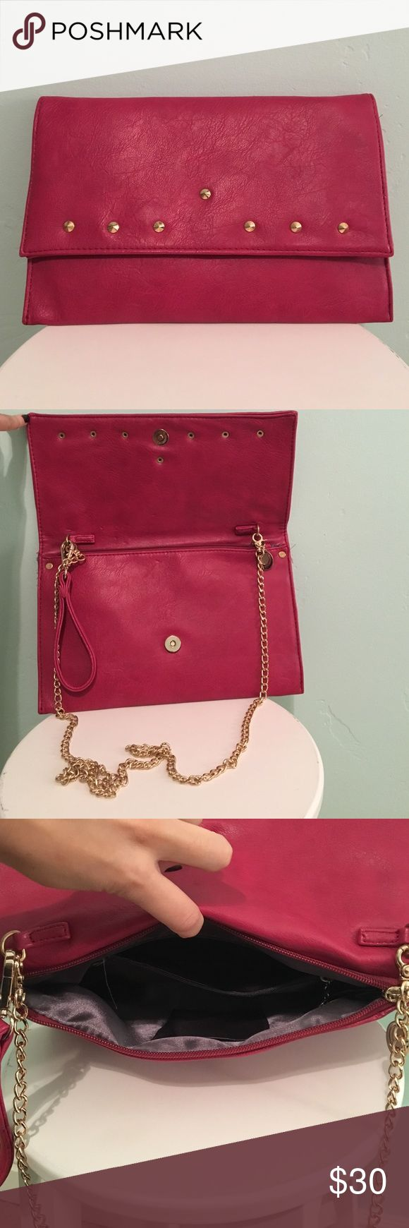 Red clutch Red clutch, from Italy🇮🇹, comes with gold chain to use as a purse. Never been use Bags Clutches & Wristlets