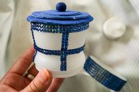 DIY Doctor Who TARDIS headband using one of those cup holder gum containers—BRILLIANT.