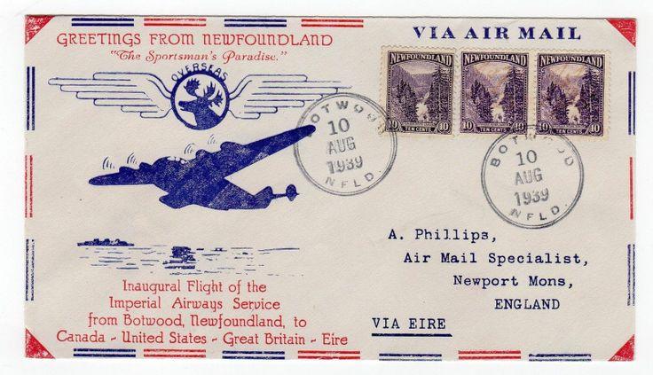 NEWFOUNDLAND 1939 first flight cover to England via Ireland