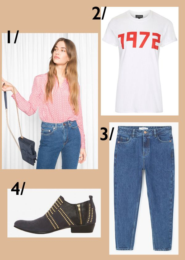 My latest obsessions in store right now. http://gabriellalundgren.com/my-latest-obsessions-in-store-right-now Silkblouse from And Other Stories, white logo Tshirt from Topshop, Charlie boots from Anine Bing and Mom denim from Mango.