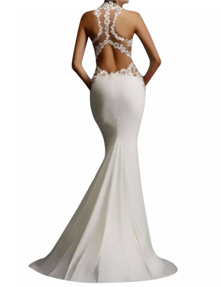 Women's Sheath Sexy Lace Backless Mermaid Bridal Gowns Wedding Prom Flare Dress White S - Yesfashion.com in Free Shipping