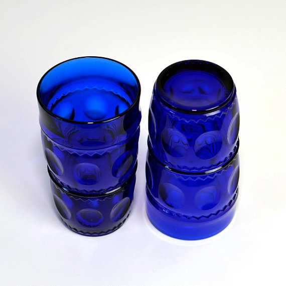 Cobalt Blue Glass Tumblers Tall Saloon Style Thumb Circle Indent Textured Retro Vintage