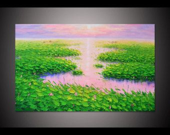 Grote handgeschilderde groene bloeiende lotus vijvers in zonsondergang muur kunst foto voor woonkamer home decor dikke Paletmes olieverfschilderij door Lisa