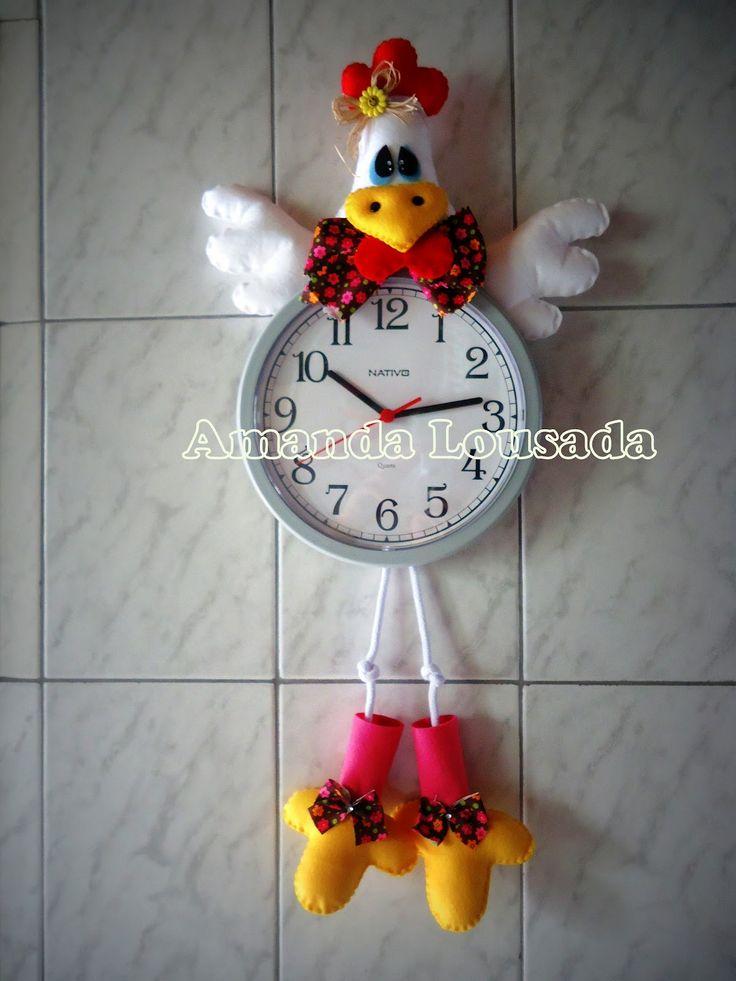 Relógio de galinha com molde
