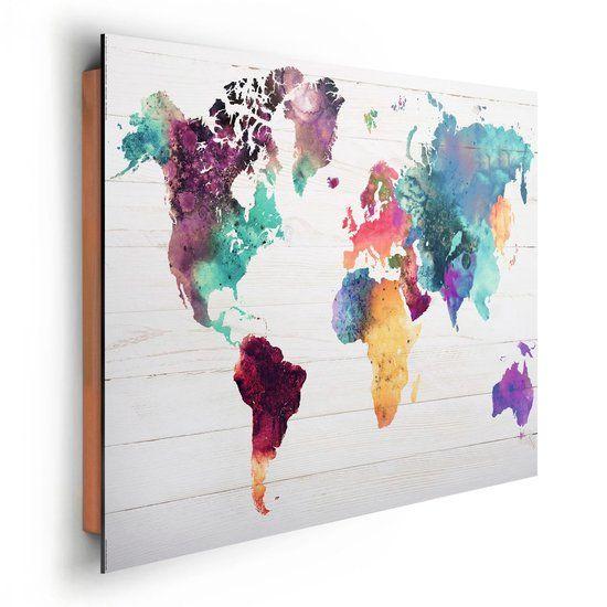 NEXT! BY REINDERS Wereldkaart aquarel - Schilderij - 90x60cm