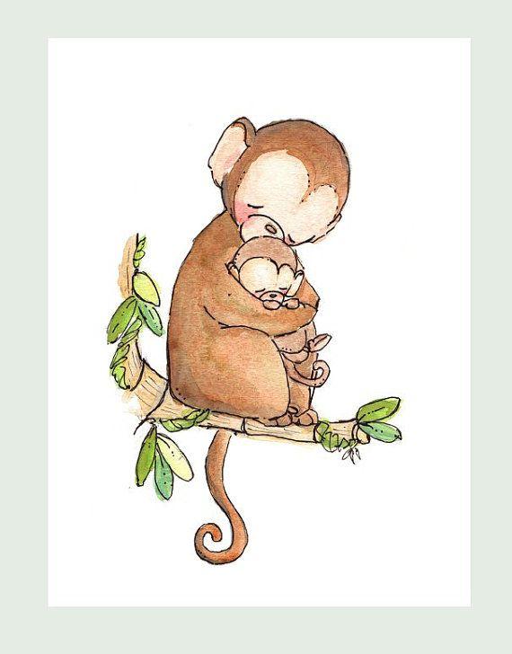 MY BABY COLLECTION-My Baby Monkey. Print 8X10. Children Art Nursery Decor – Annacarin Ståhl