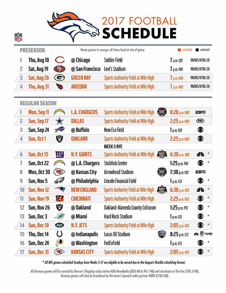 Geeky image with denver broncos printable schedule