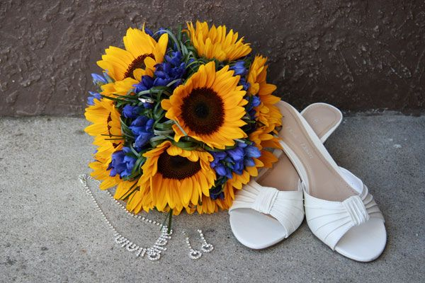bridesmaid bouquets using sunflowers | Sunflower and Blue Wedding Bouquets Sunflower Wedding Bouquets