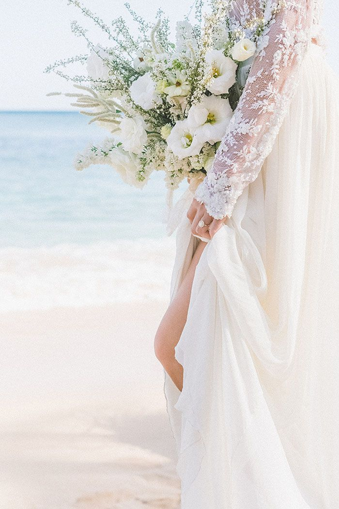 beach wedding in new jersey%0A Gorgeous Organic Textures in White and Green for a Maui Beach Wedding