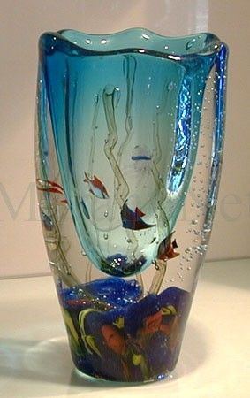 Clear blue aquarium vase by Romano Donà