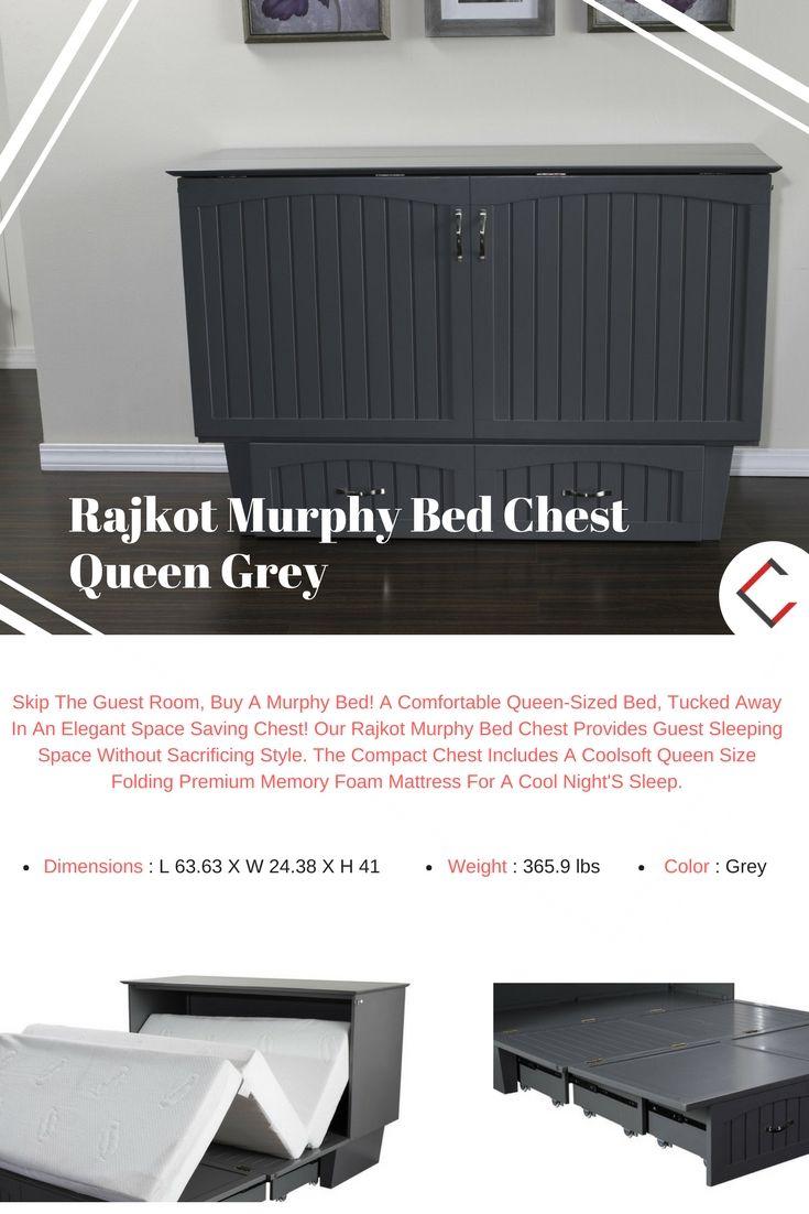 Rajkot Murphy Bed Chest Queen Grey Mattress Beach House Houses