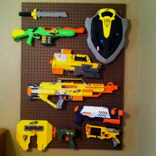 Peg board for dart guns in boy's roomChild Room, Good Ideas, Adam Room, Boys Toy Room Ideas, Boy Rooms, Anthony'S Room, Dart Board Ideas, 640640 Pixel, Boys Room