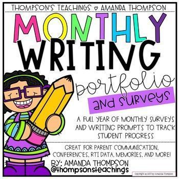 Monthly Writing Portfolio & Surveys! This pack helps organize your students�� work and really showcase the amount of writing growth that takes place in one school year. This resource includes: Monthly Surveys for a full calendar year, different cover desig