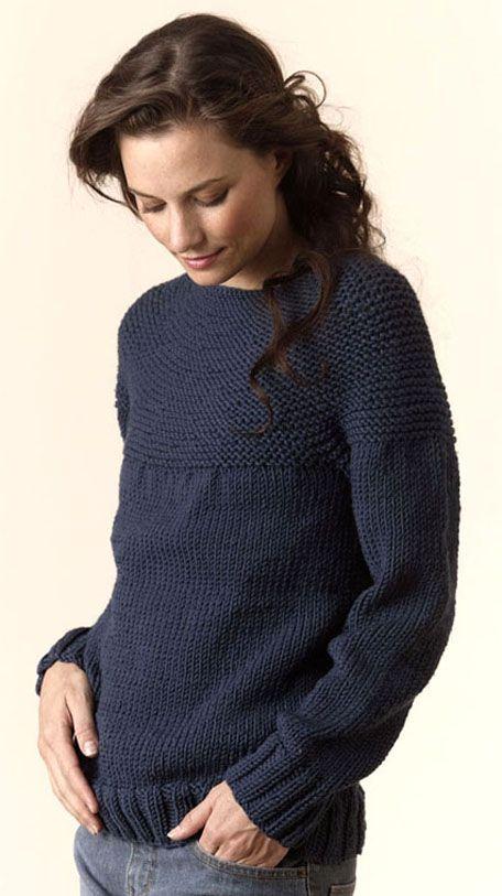 Torino - Bulky circular pullover - (S-XL)-free knit pattern to download @ Tahki Stacy Charles, pour la peru.
