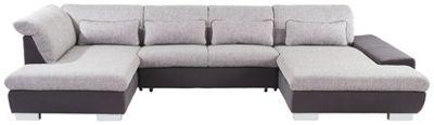 Modernes Design trifft auf Komfort und Stil – diese exklusive Wohnlandschaft in Hellgrau verwandelt Ihren Wohnbereich in eine schicke Lounge zum Relaxen, Chillen und gemütlichen Beisammensein mit Freunden. Die U-förmige Sitzgarnitur mit einem Umfang von ca. 211 x 343 x 204 cm punktet mit einer großzügigen Sitztiefe von ca. 66 cm. Bettfunktion und verstellbare Kopfteile sorgen für das Extra an Komfort. Im praktischen Bettkasten sind Kissen und Decken im Handumdrehen verstaut. Der Rücken ist…