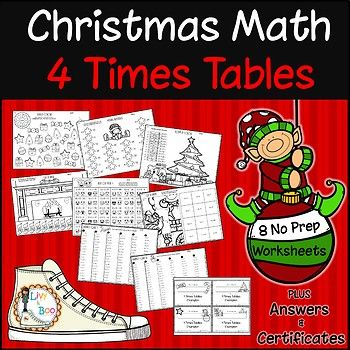 Help your kids master multiplication concepts and facts with these fun Christmas themed 4 times tables worksheets. No prep - just print and go! Lots of practice.... Your students will become 3 times tables champions in no time! Includes: - 8 No prep worksheets - Answer