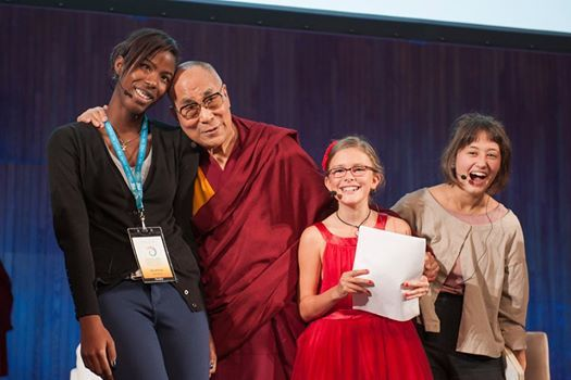 His Holiness the Dalai Lama with the young panelists at the end of a conversation that was part of the SPARK 2014 program organized by the Dalai Lama Center for Ethics and Transformative Values at MIT's Kresge Auditorium in Cambridge, MA, USA on October 31, 2014. (Photo by Brian Lima) https://www.facebook.com/DalaiLama/photos/a.10150641618452616.395022.339188887615/10152455461192616/?type=1