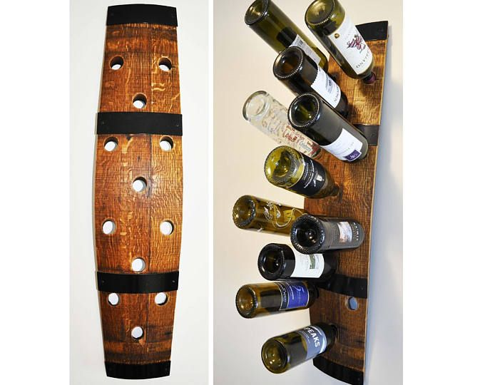 Barrel Stave Wine Rack 12 Bottle Holder Wall Mounted Made From Retired Oak Wine Barrel Wine Rack Hanging Wine Glass Rack Wine Barrel Decor