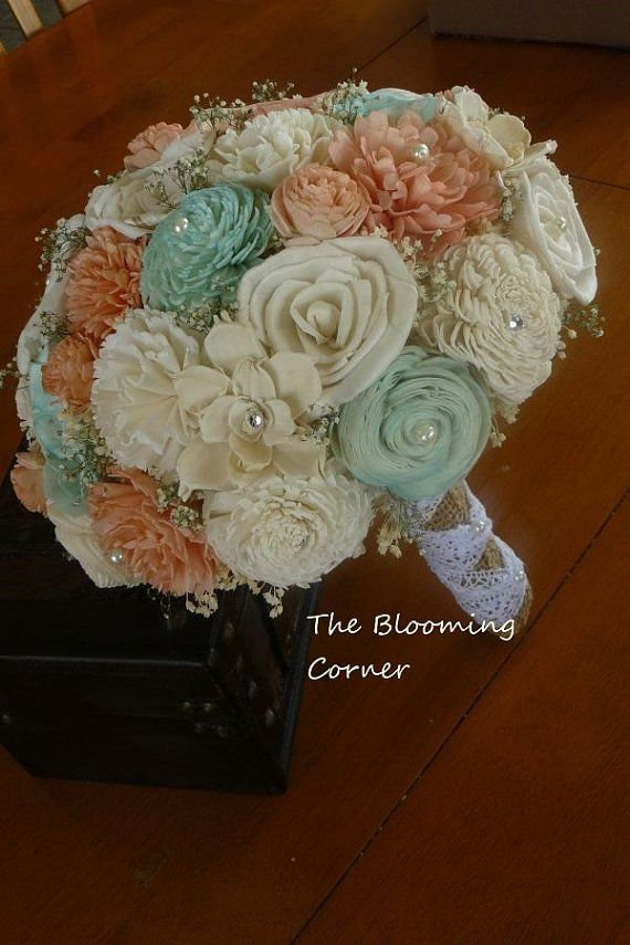 Wedding Sola Bouquet Burlap Peach  Mint by TheBloomingCorner, $132.00
