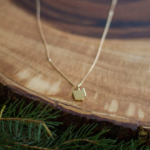 """State Necklaces...keep it close to your heart. Base metals 16"""" chain Gold or Silver *Sorry Michigan, your upper pennisula causes issues* GOLD: 18k gold-plated brass charm on a 14/20 gold-filled chain"""