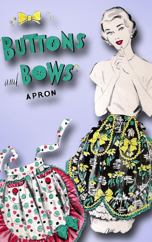 1950s Vintage Advance Sewing Pattern Uncut Misses Button and Bows Apron Fits All