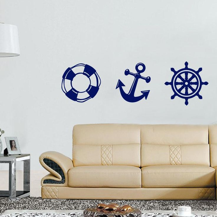 marine anchor lifebuoy vinyl wall stickers home decor bedroom diy art mural decals removable wall sticker for decoration
