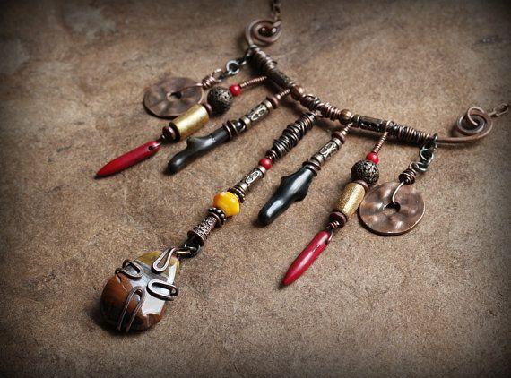 Boho Necklace Copper Assemblage Necklace Primitive by Triballa