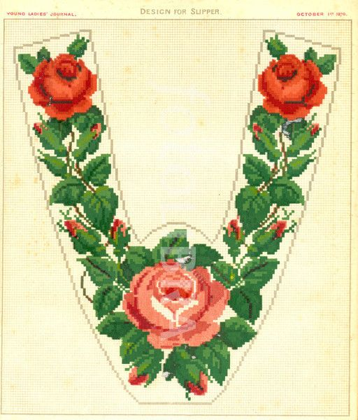 Design for slipper in Berlin Wool-work from Young Ladies Journal. 1870s