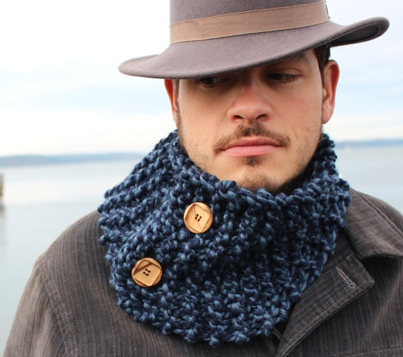 Mens Nautical Blue Scarf Cowl by Gypseatree on Etsy, $37.00