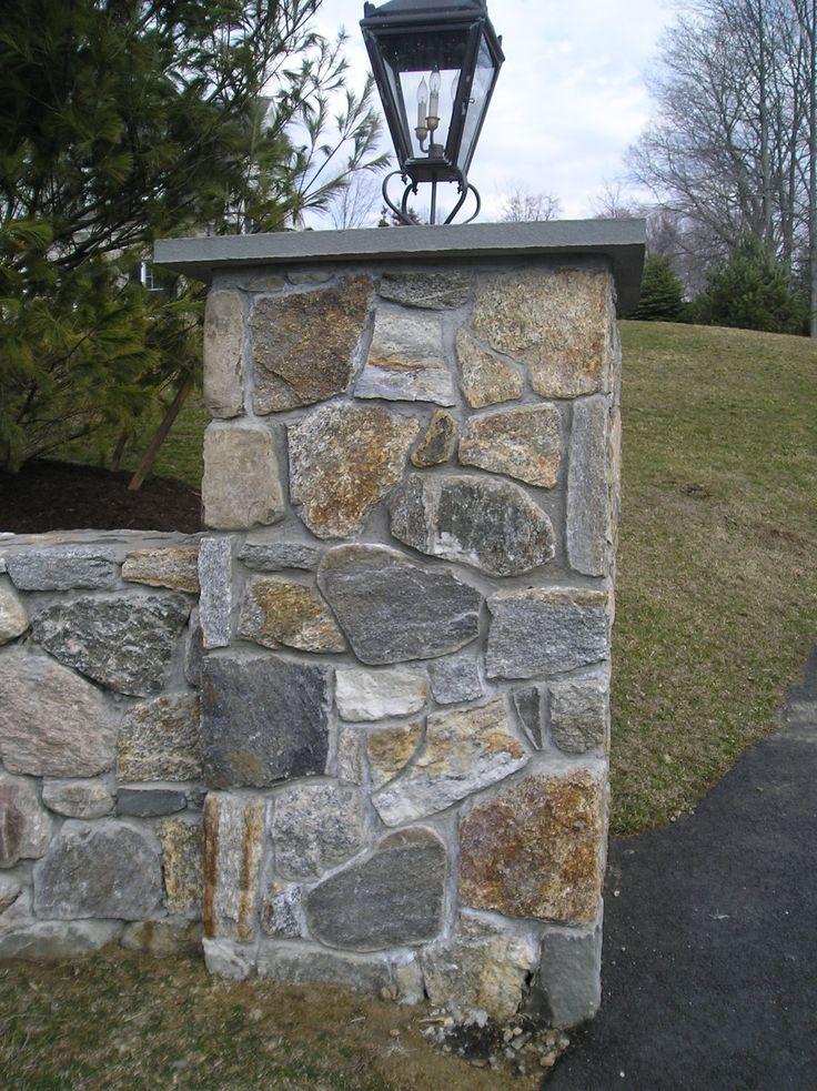 Gate Entrance Stone Pillars Assorted Stonework Stone