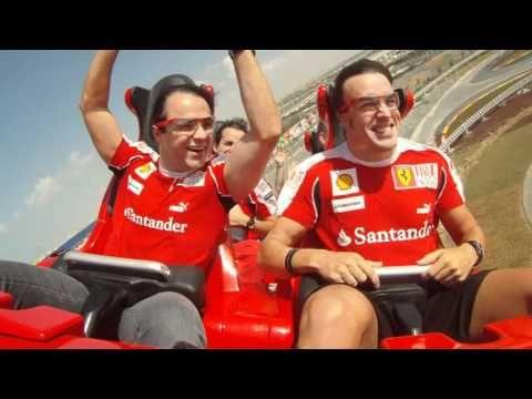 Fernando Alonso and Felipe Massa on Formula Rossa at Ferrari World Abu D...
