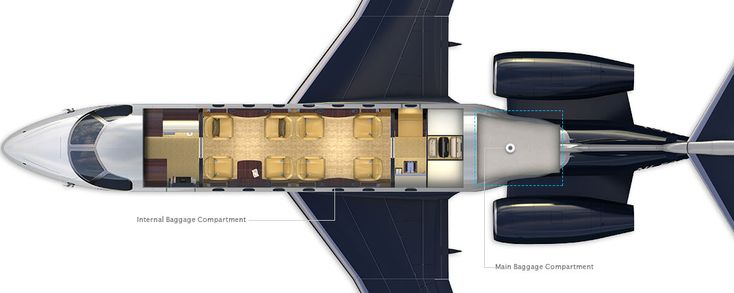 Legacy 500 Midsize corporate aircraft baggage compartment