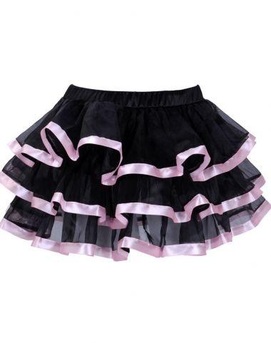 Black and pink tiered chiffon mini petticoat skirt - omdear.com