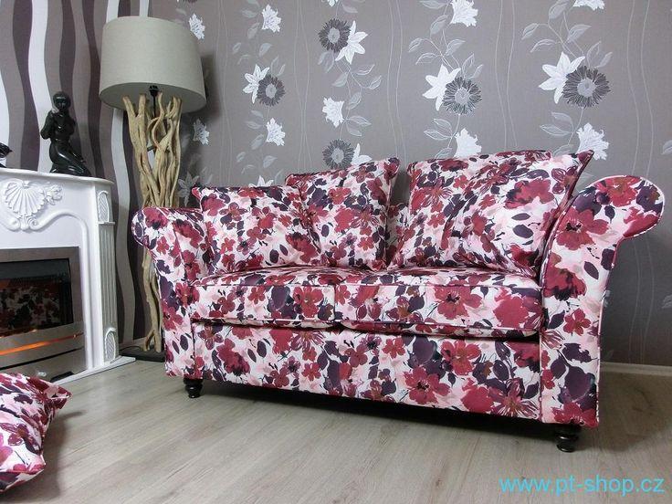 Pohovky, gauče, lenošky | (776) COUNTRY - Květinová pohovka červená | Designový nabytek