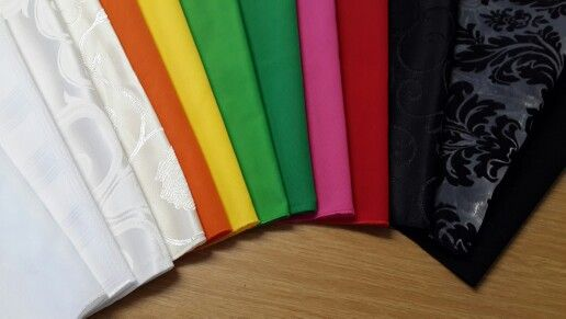 Variety of napkins.  www.csevents.co.za