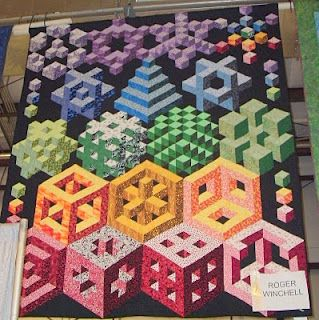 """""""Skippin' Town""""   A state fair quilt (done by a guy!)   Look at that geometry!  LOVE the colors and complexity :)"""
