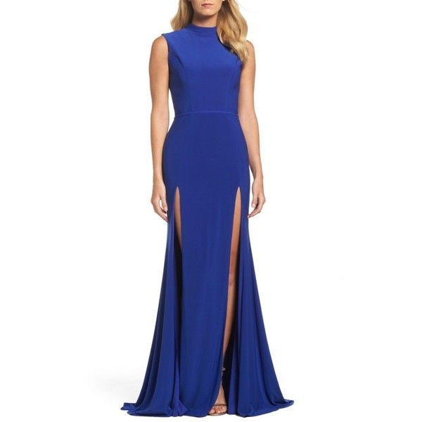 Women's Ieena For Mac Duggal Jersey Double Slit Gown ($258) ❤ liked on Polyvore featuring dresses, gowns, royal, collar dress, double slit dress, blue evening gown, blue gown and blue jersey