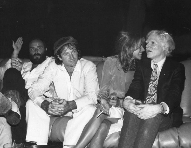 Robin Williams, Valerie Williams & Andy Warhol at Studio 54, 1979