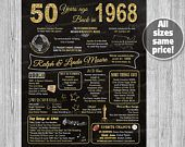 50th Anniversary Decoration, 50th Anniversary Gifts for Parents, Chalkboard Poster Sign Party PRINTABLE 1968 Poster Ideas Marriage Props
