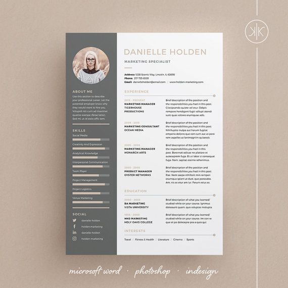 Danielle Resume/CV Template | Word | Photoshop | InDesign | Professional Resume Design |  Cover Letter | Instant Download
