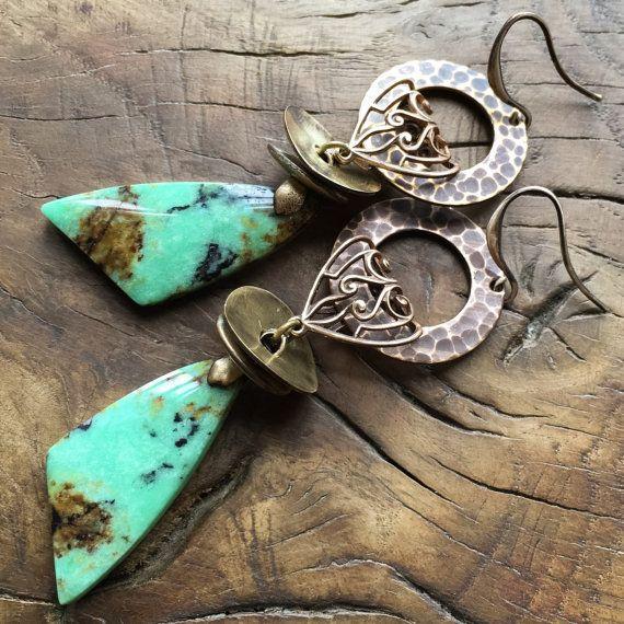 Green turquoise earrings rustic earrings ethnic by lecoupdegrace