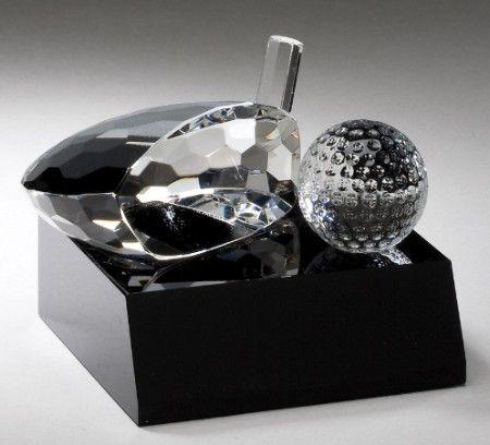 Golf Ball and Club on Black Base Award Trophy - Golf Trophy Award
